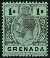 GRENADA 78za *, 1913, 1 Sh. Schwarz Auf Blaugrün, Rückseite Weiß, Falzrest, Pracht, Mi. 75.- - Grenada (...-1974)