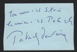 Autographe Original Dédicace PATRICK DEWAERE  Sur Carte De Visite Ancien Restaurant Blue Bar Sylvio  Festivals Cannes - Autographes
