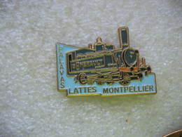 Pin's D'une Locomotive à Vapeur Sur Les Chemins De Fer De L'Hérault Sur L'itinéraire Palavas - Lattes Montpellier - Transportation