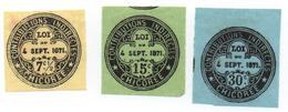 Fiscaux-  CHICOREE - 1871 - 3 Valeurs ( 7 1/2-15 Et 30 Cts ) Papier Pelure   -  Voir Scans - Fiscaux