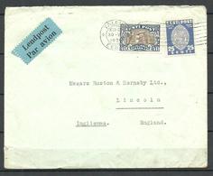 Estland Estonia 1939 Air Mail Flugpost Brief Mit Michel 62 & 123 Nach England - Estland