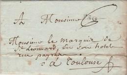 Lettre Marque Postale PAU Basses Pyrénées 7/6/1789 Taxe Manuscrite à Marquis De St Léonard Toulouse Haute Garonne - Marcophilie (Lettres)