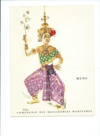 "APSARA Cambodge Danseuse Indochine Menu Messageries Maritimes Navire ""Jean Laborde"" 1970  TB 3 Scans Colonies Françaises - Menus"