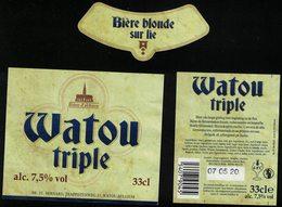 Belgique Lot 3 Étiquettes Bière Beer Labels Watou Triple Blonde Sur Lie - Beer