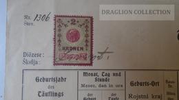 S0520  Slovenia Marburg Maribor  -Taufschein Krstni List -  1910's  Revenue Stamp 2 Kronen - Nacimiento & Bautizo
