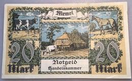 Memel 1922 20 Mark Ro.851a XF-AU Notgeld Handelskammer Memelgebiet(Geldschein Russia Banknote France Lithuania - Eerste Wereldoorlog