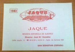 CHESS  Échecs SCHACH XADREZ TARJETA POSTAL BOLETÍN DE SUSCRIPCIÓN 1983 REVISTA AJEDREZ JAQUE SPANISH MAGAZINE POST CARD - Postales