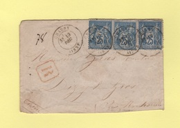 Type Sage - Chauny - Aisne - 19 Dec 1877 - Recommande - 1877-1920: Période Semi Moderne