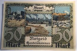 Memel 1922 50 Mark Ro.852a UNC- Notgeld Handelskammer Memelgebiet(Geldschein Russia Banknote Billet France Lithuania - Eerste Wereldoorlog