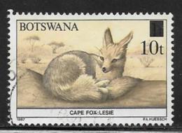 Botswana Scott # 480 Used Cape Fox, Surcharged, 1990 - Botswana (1966-...)