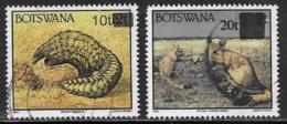 Botswana Scott # 594A, 595 Used Wild Animals, Surcharged, 1994-6 - Botswana (1966-...)