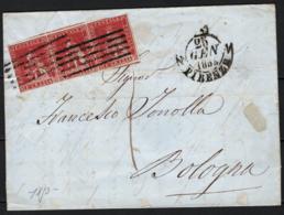 Toscana 1851 1cr. Striscia Di 3 Su Lettera Da Firenze A Bologna 25/1/53 Sass.4 O/Used VF/F - Tuscany