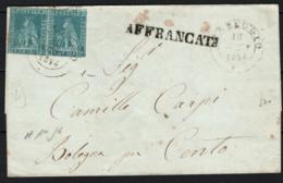 Toscana 1851 2cr. Coppia Su Lettera Da Viareggio A Bologna18/2/54 Sass.5 O/Used VF/F - Tuscany