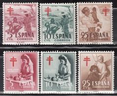 1951 - 1953    Edifil Nº 1103 / 1105, 1121 / 1123  MNH - 1951-60 Nuevos & Fijasellos