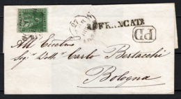 Toscana 1851 4cr. Su Lettera Per Bologna 27/4/54 Sass.6 O/Used VF/F - Tuscany
