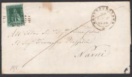 Toscana 1851 4cr. Su Lettera Da Montepulciano A Narni 30/10/56 Sass.6a O/Used VF/F - Tuscany