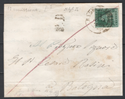 Toscana 1851 4cr. Su Lettera Da Bagno D'Acqui A Bologna 28/7/55 Sass.6a O/Used VF/F - Tuscany