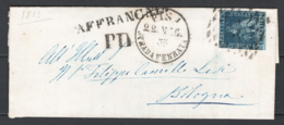 Toscana 1851 6cr. Su Lettera Da Pisa A Bologna 22/5/53 Sass.7a O/Used VF/F - Tuscany
