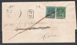 Toscana 1857 2cr.+4cr. Su Lettera Da Fucecchio A Roma 16/7/57 Sass.13+14 O/Used VF/F - Tuscany
