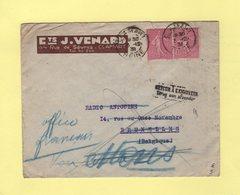 Type Semeuse - Destination Belgique - Retour A L Envoyeur - Clamart - 3-12-1931 - 1877-1920: Période Semi Moderne