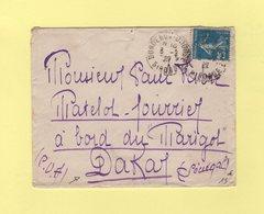Type Semeuse - Destination Dakar A Bord Du Navire Marigot - Bordeaux - 6-2-1922 - 1877-1920: Période Semi Moderne