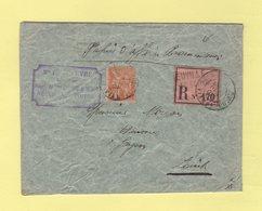 Type Mouchon - Papiers D Affaire Recommande - Neuville Poitou - Vienne - 7 Dec 1901 - 1877-1920: Période Semi Moderne