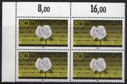 """BRD, 1983, Nr.1163 **,  Viererblock Mit Eckrand Oben Links, """"Verfolgung Und Widerstand"""" - [7] République Fédérale"""