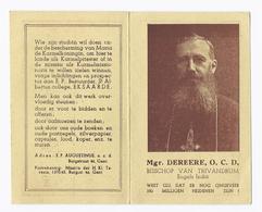 Santini Image Pieuse Holy Card Mgr. DEREERE O.C.D. BISSCHOP VAN TRIVANDRUM ENGELS INDIË COLLEGE EKSAARDE KALENDER 1948 - Images Religieuses