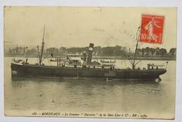 """C. P. A. : 33 BORDEAUX : Le Steamer """"NAVARRE"""" De La Moss Line & C°, Timbre En 1911 - Bordeaux"""