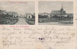57 - CATTENOM - 2 VUES - FIN DE LA RUE DE LA MAIRIE ET L'EGLISE - CARTE RARE - France