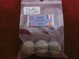 - Lot De 3 Balles De Mousquet Du 1er Empire. - Equipaggiamento