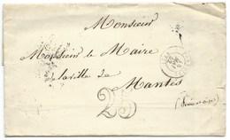 MARQUE POSTALE PONTOISE / 1852 TAXE 25 DOUBLE TRAIT / POUR MANTES / VOIR CACHET MAIRIE AU VERSO - 1849-1876: Période Classique
