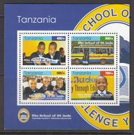 2010 Tanzania Education St. Judes Buses Children Souvenir Sheet MNH - Tanzania (1964-...)