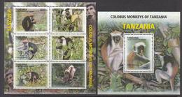 2012 Tanzania Colobus Monkeys Singes Set Of 2 Souvenir Sheet MNH - Tanzania (1964-...)