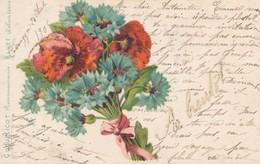 CPA Coquelicot Reconnaissance Bluet Délicatesse 1906 Circulée Fleurs Paillettes - Fleurs