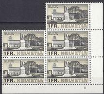HELVETIA - SUISSE - SVIZZERA - 1938 - Gruppo Di 5 Valori Nuovi MNH Yvert 309 Uniti Fra Loro Con Margini E Angolo - Nuovi