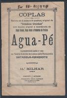 Libreto Revista 'Água-Pé' Coplas. Música Frederico De Freitas. Companhia Satanela-Amarante. Teatro Avenida Lisboa.16 Pag - Cine & Teatro