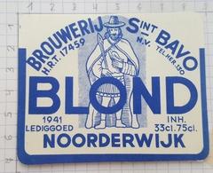 ETIQUETTE BLOND  BROUWERIJ  Sint BAVO NOORDERWIJK -2 - Bière