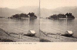 Italie Piemonte Le Lac Majeur Isola Bella Bateau Carte Stéréoscopique - Autres Villes
