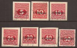 AUSTRIA / ITALY. 1918. FELDPOST POSTAGE DUE SET. USED - 1850-1918 Empire
