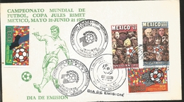 J) 1970 MEXICO, WORLD FOOTBALL CHAMPIONSHIP, JULES RIMET MEXICO CUP, MASK, BALL, MULTIPLE STAMPS, FDC - Mexico