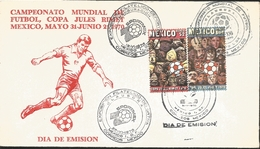 J) 1970 MEXICO, WORLD FOOTBALL CHAMPIONSHIP, RED, JULES RIMET MEXICO CUP, MASK, BALL, MULTIPLE STAMPS, FDC - Mexico
