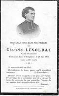 CREUSE - BONNAT - LINARD - CLAUDE LESOLDAT CURE DE LINARD VERS 1900/1910 AVIS DE DECES - Autres Communes
