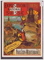 CARTE MODERNE - GENEVE - EXPOSITION NATIONALE SUISSE 1896 - REPRO D'AFFICHE - TB - GE Geneva