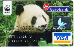 GREECE - WWF/Panda, Eurobank Visa(reverse Oberthur), 03/04, Used - Credit Cards (Exp. Date Min. 10 Years)
