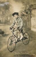 CPA Enfant Sur Vélo Avec Fleurs Colorisée Tendre Souvenir Ste Livrade Polo 311 - Cyclisme