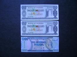 "GUYANA - 3 BANK NOTES ""WITHOUT FOLDING"" PERFECT - Guyana"