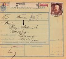 1913: Paketkarte: Feldpostamt Rumänien Nach Rozsahegy - Autres - Europe