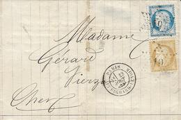 1873 - Lettre De Paris / Bt RICHARD-LENOIR   Affr. N° 60 + N°59   Oblit. étoile 19 - Marcophilie (Lettres)