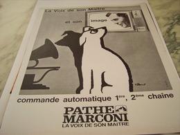 ANCIENNE PUBLICITE LA VOIX DE SON MAITRE ET SON IMAGE PATHE MARCONI  1963 - Musik & Instrumente